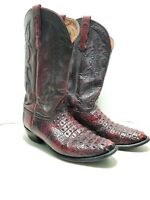 Nocona Exotic Caiman Hornback Mens Cowboy Boot Leather Red/Burgundy Size 10.5 EE