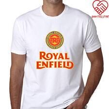 New Royal Enfield Logo Men's White T-Shirt Size S to 3XL