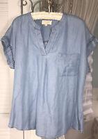 NEW Plus Size 1X Blue Denim Chambray Shirt Lace Crochet Top Blouse