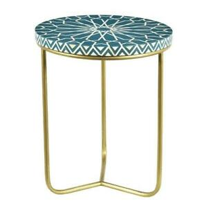 Handmade Bone Inlay Side Table And Stool With Brass Leg