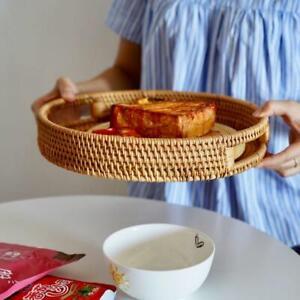 Cracker Fruit Tea Storage Tray Bread Basket Rattan Woven Storage with Handle