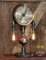 Steampunk Lamp Industrial Machine Age Steam Gauge Light Gear Boiler