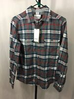 Goodfellow & Co Men's Gray And Red Small Flannel Dress Shirt NWT