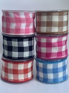 1M Jumbo Wired Edge Gingham Ribbon 60mm Wide Bow Party