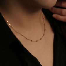 14K Solid Gold Beaded Chain Necklace Beads by Yard Minimalist Layering Necklace