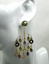 Vintage Beautiful Pair Of Large Asian 18 Carat Gold Amethyst & Peridot Earrings