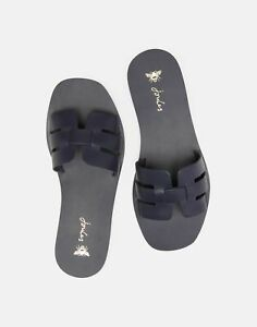 Joules Womens Capri Leather Woven Strap Sandals - French Navy
