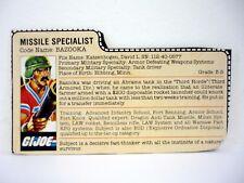 GI JOE BAZOOKA FILE CARD Vintage Action Figure GREAT SHAPE 1985