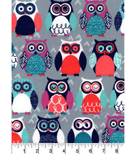 Flannel Fabric COLORFUL OWLS ON GRAY Pattern 3 yds X 42 in 100% Cotton