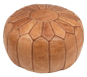 Moroccan Pouf Leather Pouffe Ottoman Genuine Square Leather Ottoman Footstool
