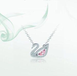 Pave Blue Cubic Zirconia Silver SP Pink Pendant Chain Necklace