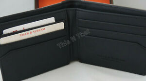 New Buxton Mens Field & Stream RFID Distressed Gray/Black Canvas/Leather Wallet
