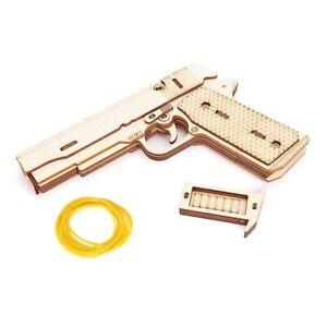 Pistol Toy Rubber Band Gun 3D Wooden Mechanical Handgun Kids Teen Birthday Gift