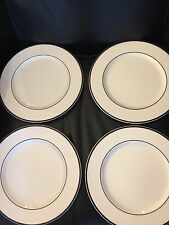 PAGNOSSIN  WHITE Black Trim  (4) DINNER PLATES PLATE SET Signed !!!