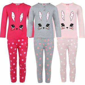 Girls Sleepwear Pyjama Set Rabbit Pullover Dot Print Pants Nightwear 3-14 Years