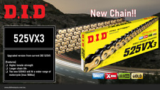 DID PRO-STREET 525 VX3 X-RING MOTORCYCLE CHAIN (GOLD/BLACK) 124 LINKS CLIP LINK