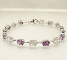"""8"""" Amethyst and Clear Oval Zircon CZ Tennis Bracelet Real 925 Sterling Silver"""
