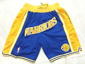 Golden State Warriors Retro Men's Blue with Pockets Basketball Shorts Size S-XXL