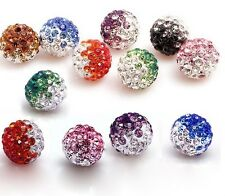 100 Pcs Cz Crystal Shamballa Beads Pave Disco Balls Mixed Gradient Color 10MM