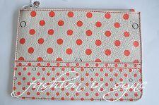 OROTON Entourage Polka Dots Zip Leather Case Organizer Deco Red BNWT RRP $145.00
