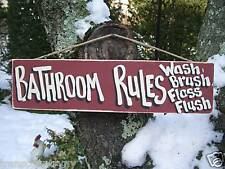 BATHROOM RULES WASH BRUSH FLOSS & BRUSH SHABBY CHIC RUSTIC PRIMITIVE SIGN PLAQUE