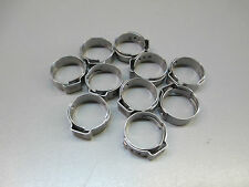 (10) 15.7mm BEVERAGE CLAMPS, STAINLESS HOSE CLAMP