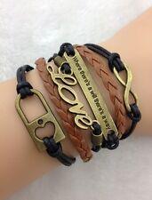 Bracelet marron et noir love et cadenas cœur et lien infini . Top tendance