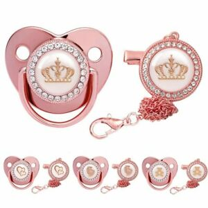 Newborn Baby Pacifier Rose Gold Bling Infant Soother Dummy Silicone Baby Dummy