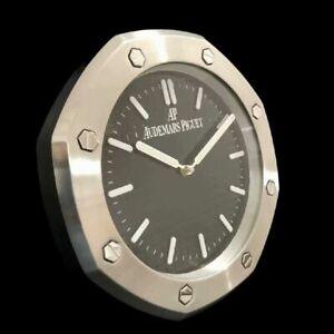 Audemars Piguet Dealers Display Wall Clock Steel Case Black Dial Qartz Movement