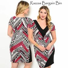 New Ladies Dress With Contrasting Trim Neck Plus Size 16 (9948)NP