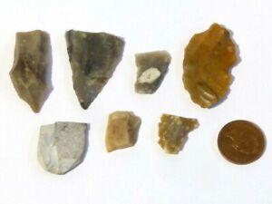 7 Original Flint Flakes Prehistoric Hand Thumb Working Tools #F1