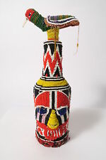 Alte Flasche Joruba Glasperlen Vogel Old bottle Yoruba beads beadwork Afrozip