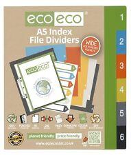 Conjunto de 1 X 6pk Eco-Eco A5 50% de plástico reciclado amplia carpeta de archivo índice divisores