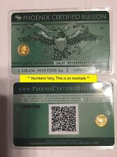 1 Gram .9999 GOLD Prepper Currency of the Future 24K Physical Credit Card style