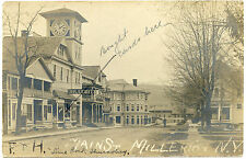 RPPC NY Millerton 1906 Main St Druggist Great Clock Tower Dutchess County