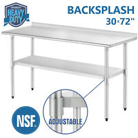 "30"" x 72"" Work & Prep Table Stainless Steel For Kitchen Restaurant w/ Backsplash"