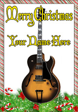 Semi Acoustic Sunburst ptcc27 Christmas Xmas A5 Personalised Greeting card