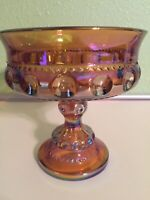 Indiana Glass Carnival Glass Amber Kings Crown Thumbprint Compote Candy Dish