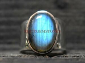 Natural Labradorite Gemstone with 925 Sterling Silver Ring for Men's EG1014