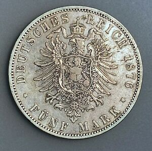 German States PRUSSIA 5 Mark 1876 A KM# 503   VF