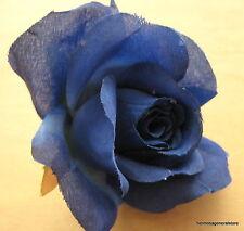 """3"""" Royal Blue Dewdrop Rose Silk Flower Brooch Pin, Wedding, Prom, Dance, Bridal"""