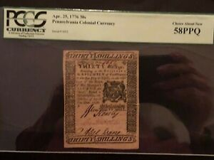 Pennsylvania Colonial Currency Apr. 25, 1776 30s Choice About New 58PPQ