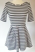 Club L Women's Dress Black White Size S/M 8 10 Striped Skater Made in UK VGC