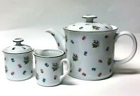 Tea Pot Creamer And Sugar Set Forget Me Not White Pink Blue Floral Flowers