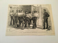 K34) Inside Upper Battery of H.M.S. Alexandria English Army Egypt 1882 Engraving