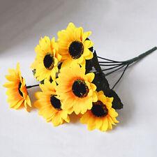 DI- 1 Bouquet 7 Heads Artificial Sunflower Faux Silk Flowers Home Wedding Decor