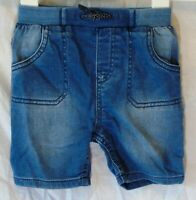 Baby Boys TU Blue Stone Washed Ribbed Waist Denim Jean Shorts Age 12-18 Months