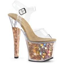 "7"" Silver Chunky Platform Heels Stripper Gogo Pole Dancer Shoes Pleaser 7 8 9 10"