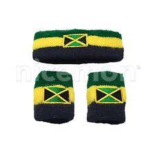 Jamaica Flag Sweatband Wristband Reggae Selassie Africa Rastafari Marley RASTA