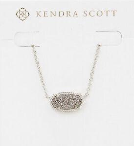 Kendra Scott Elisa Pendant Necklace in Platinum Drusy and Rhodium Plated